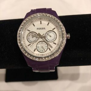 Purple Fossil watch with diamonds used once